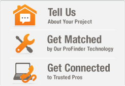 Tell us about your project, get matched by our ProFinder technology, and get connected to trusted pros