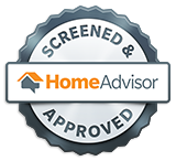 A 'HomeAdvisor Approved' badge earned by North East Wildlife Management in Canton, MA