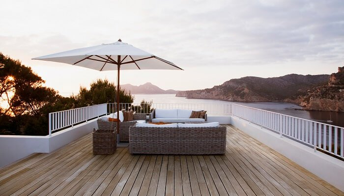 residential deck by shore