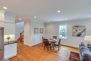 Dining room with recessed lighting