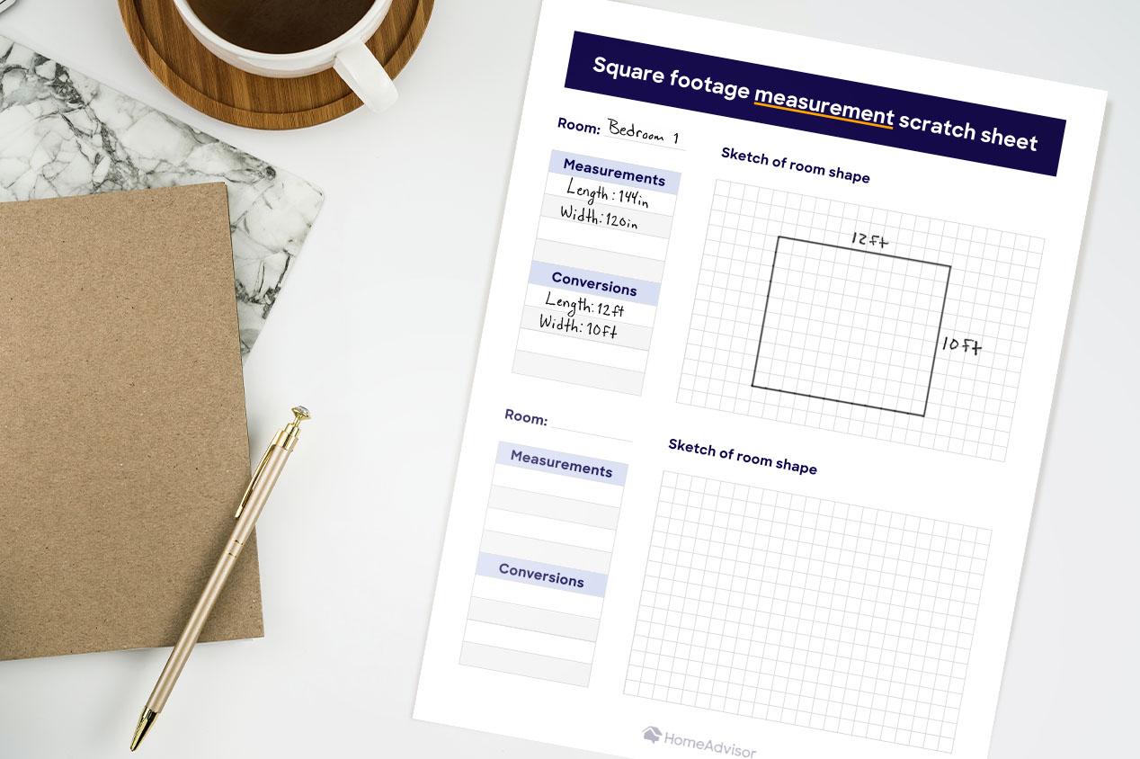 Square Footage Measurement Sheet Mockup