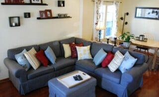 Sectional with pillows