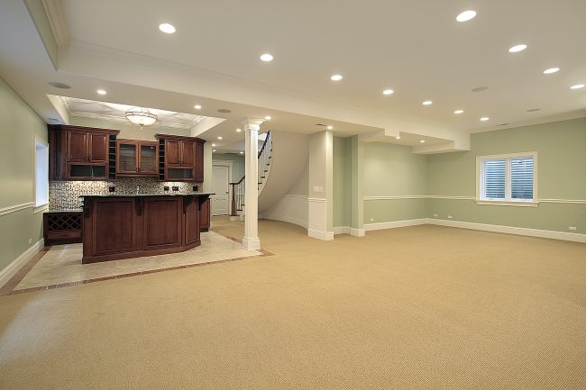 Basement with bar area