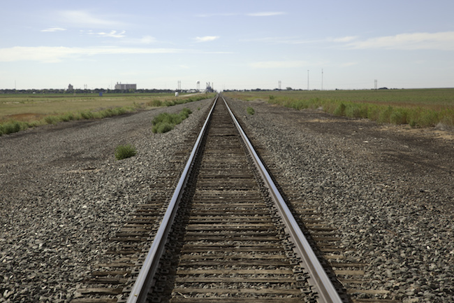 Railroad tracks outside of Stratford Texas.