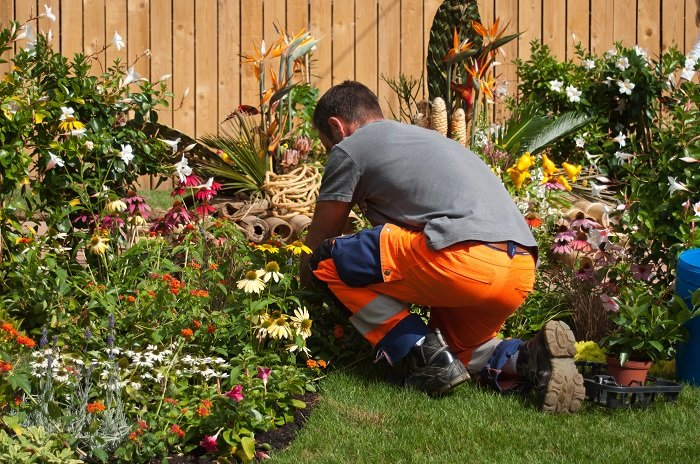 hired gardener digs into flower bed