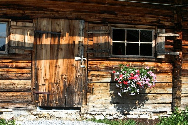 Wooden home exterior with flowers