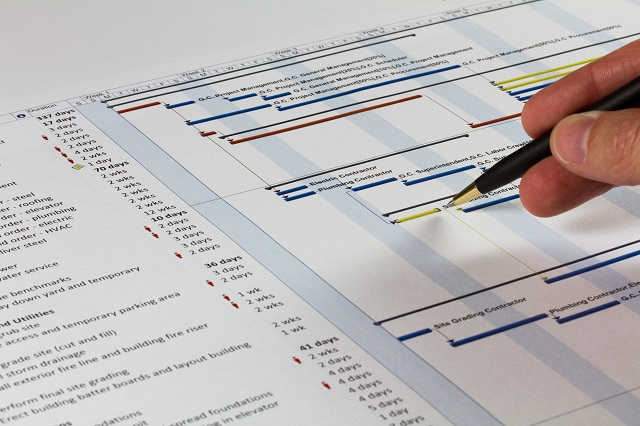 Detailed Gantt Chart showingConstruction Tasks, Resources and Notes. Includes a pen being held by a man on the right.
