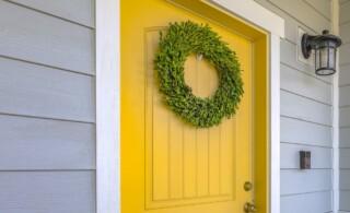 yellow wood front door