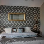 Wallpapered bedroom