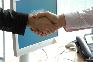 Shaking hands by computer