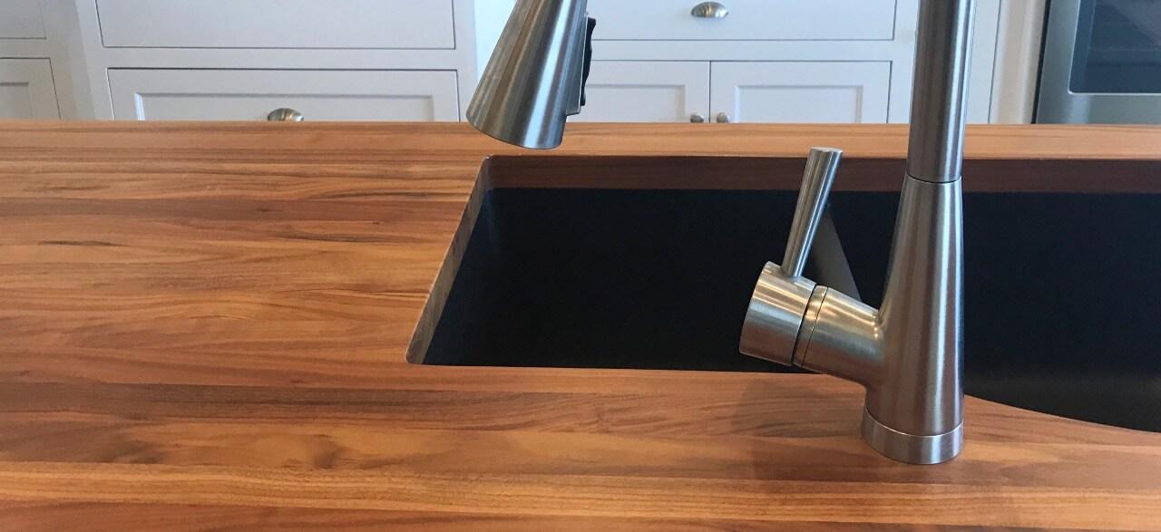 butcher block wood countertop in kitchen