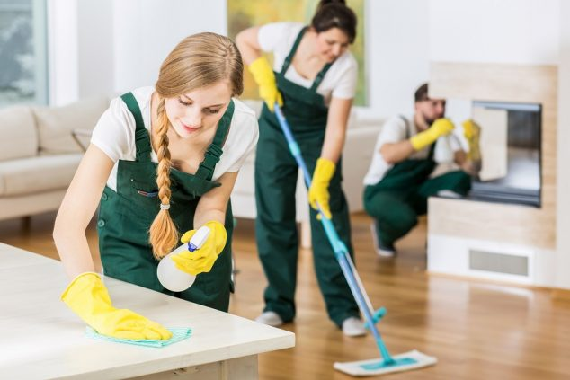 professional cleaners tiding up big apartment