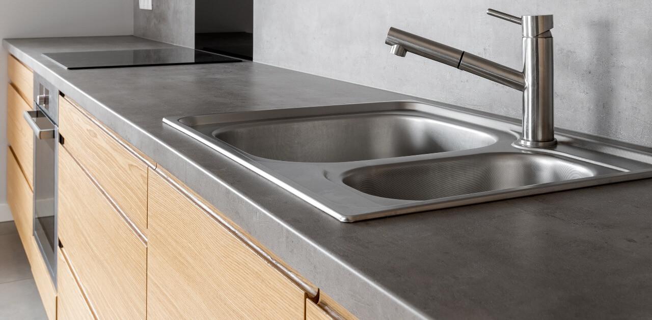 concrete countertop in kitchen
