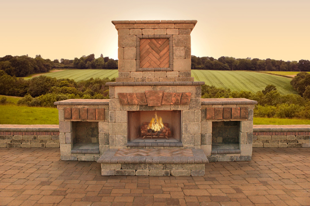 Outdoor Fireplace with Wood Logs in Grate