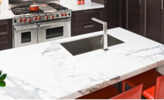 marble countertop in home kitchen