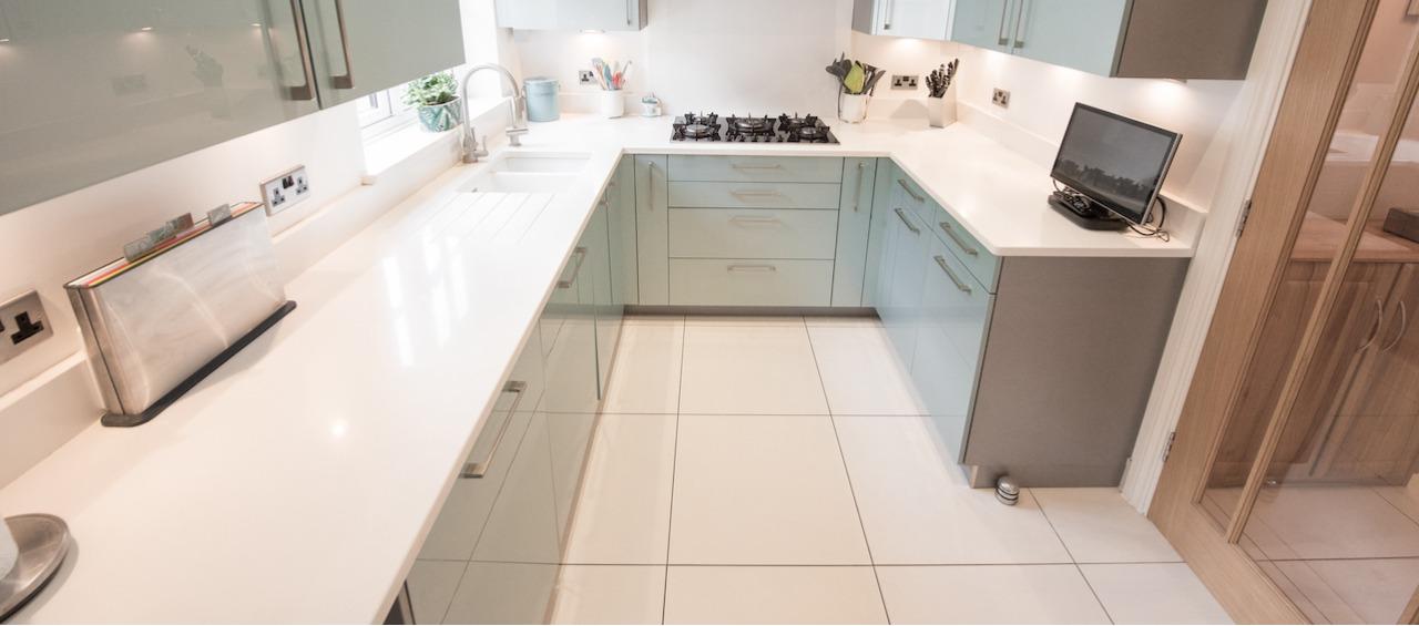 quartz countertop in home kitchen