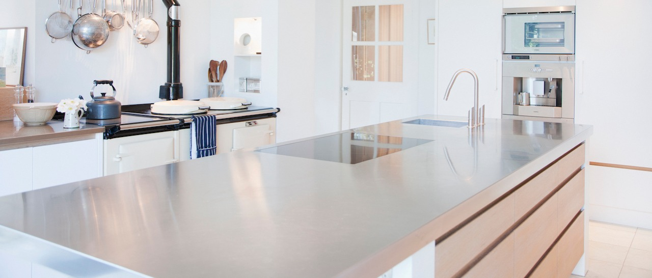 stainless steel countertop in home kitchen