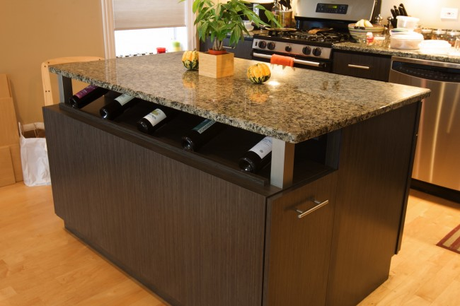 Lovely Kitchen Island With Wine Shelf