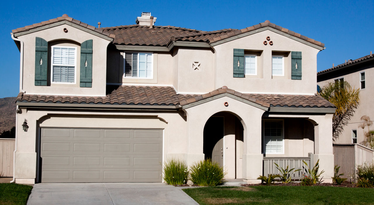 Traditional stucco exterior of home Southern California