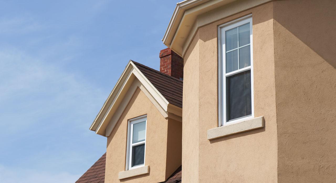 Hard coat stucco exterior of house