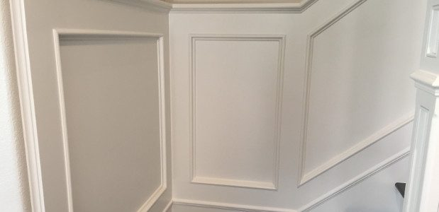 White Wainscoting Installed On Stairs