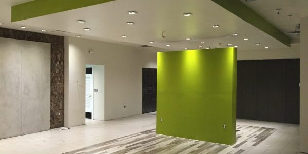 Greenish drop ceiling