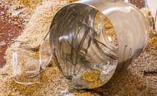 Broken glass & bucket