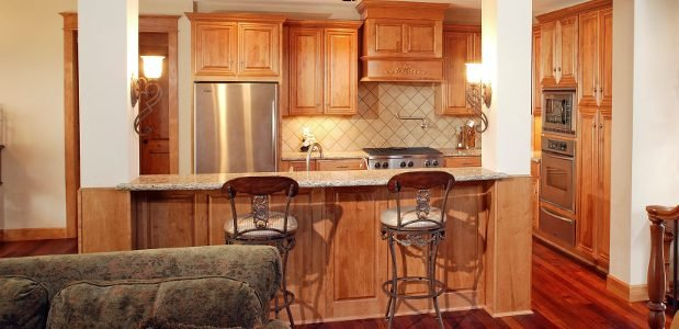 Kitchen with Different Sized Cabinets