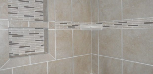 Neutral Colored Tile In A Bathroom Shower