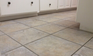 close-up of a tile floor being installed