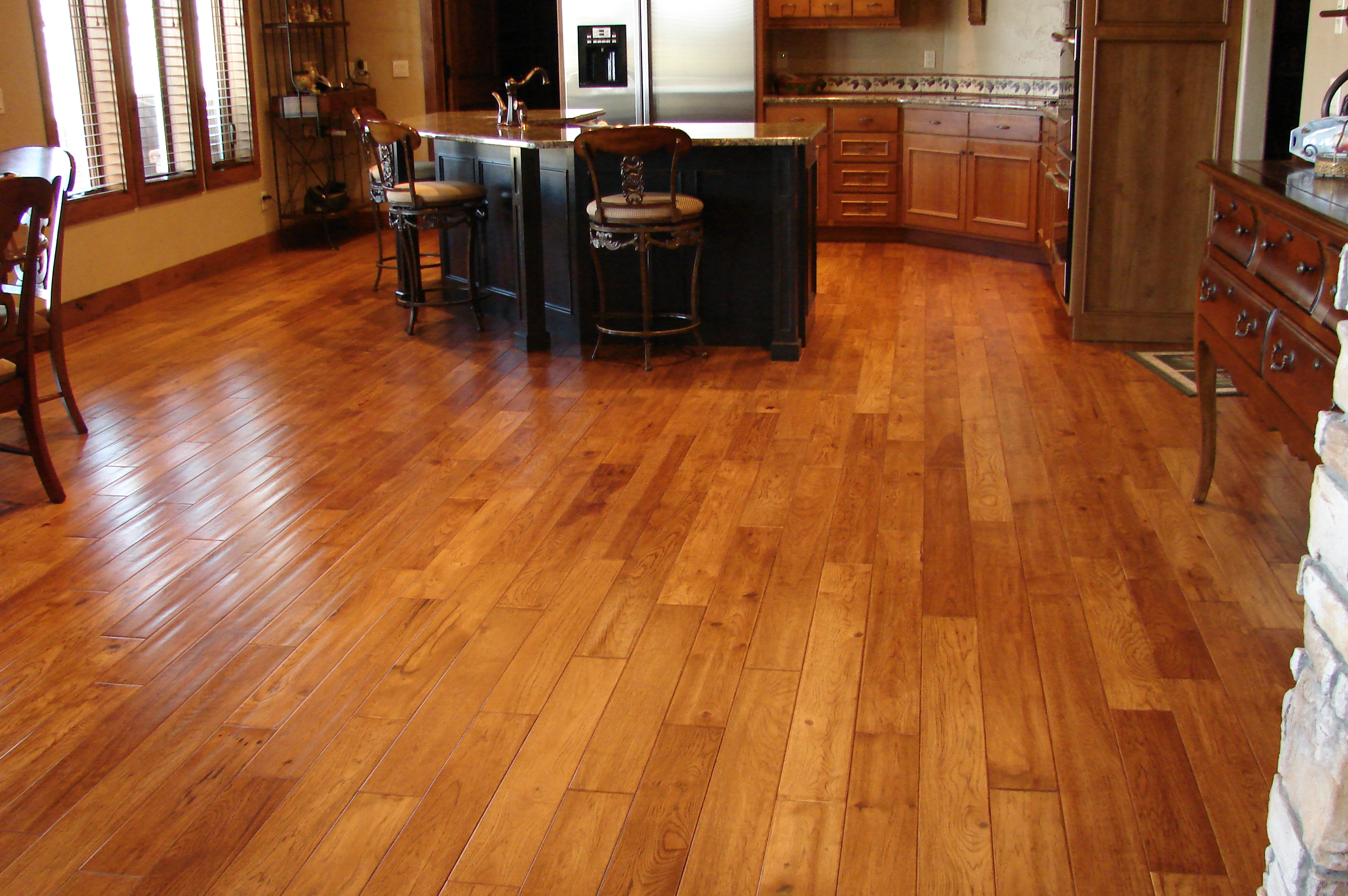 Wood Floors For Kitchen Trends With Cypress Hickory Wood Floors Homeadvisor