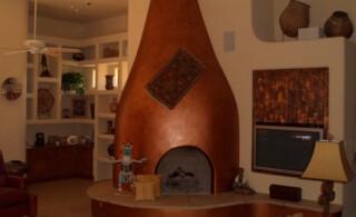 Kiva copper fireplace
