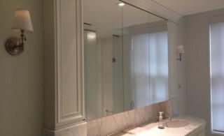 Recessed glass medicine cabinets