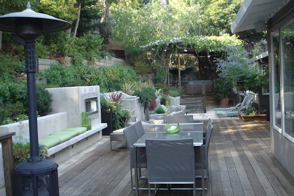 Yard patio with heater