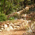 Backyard waterfall on stones