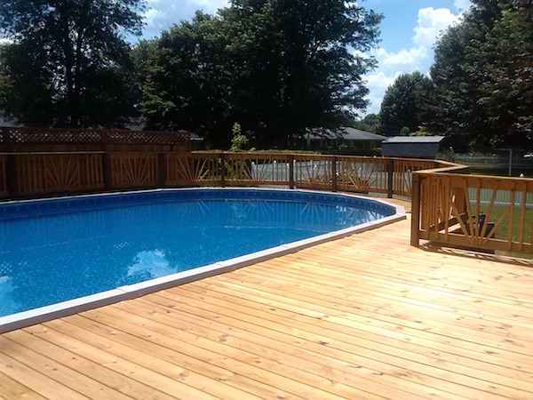 aboveground pool deck