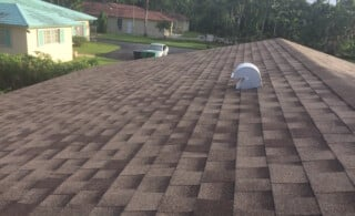 Brown roofing shingles