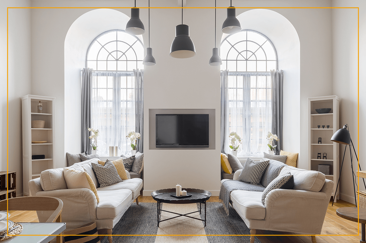 arched windows in living room