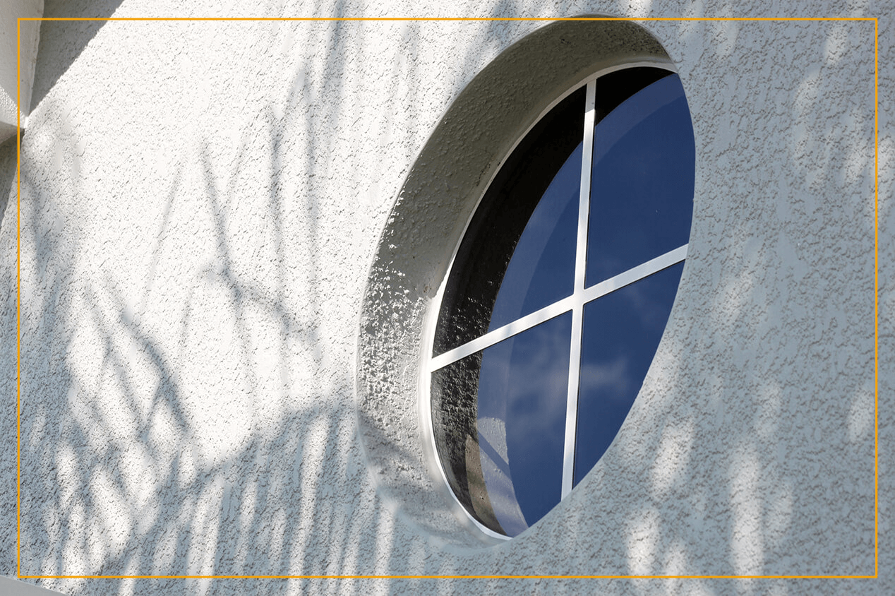 circle window outside of building