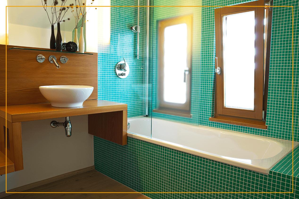 hopper window in bathroom with tile