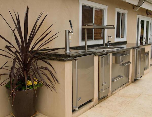 Outdoor kitchen with freezer
