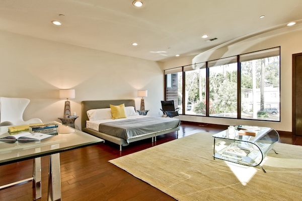Bedroom with picture windows