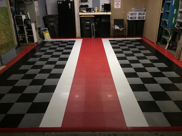 Checkered rubber flooring