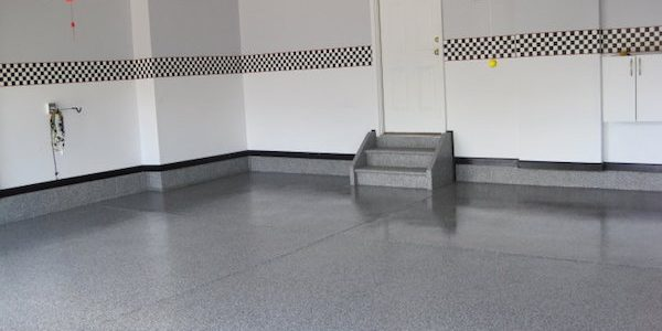 Coated garage floor