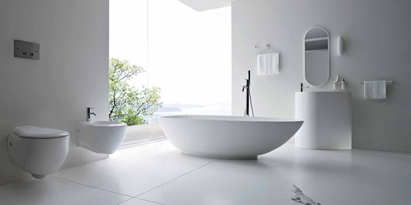 Bathroom with bidet faucet