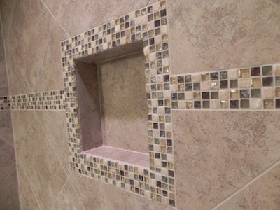 Bathroom Tile Installation. Glass Mosaic Tile Bathroom Installation ...