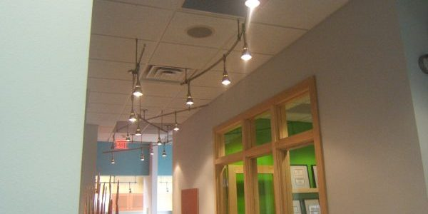 Tiled ceiling hallway