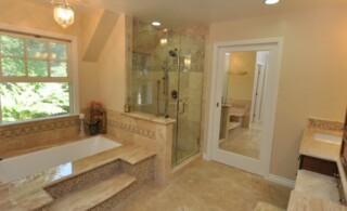 Bathroom with mirror door