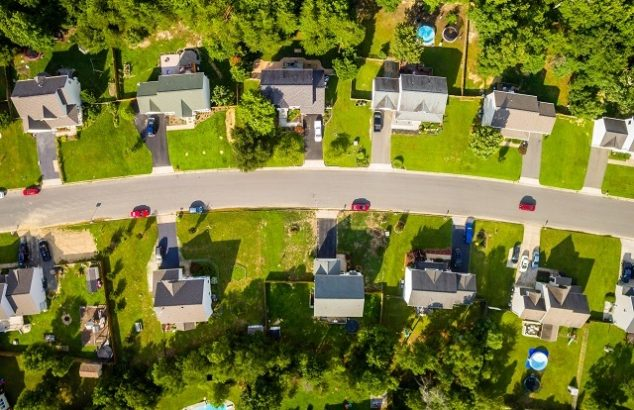Satellite style image of a safe looking family neighborhood