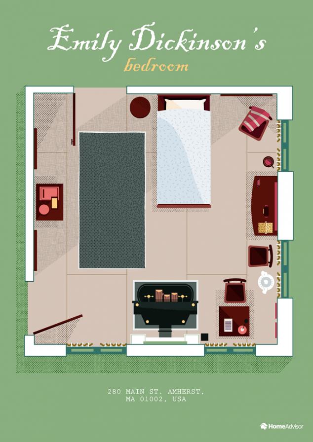 emily dickinson bedroom illustration